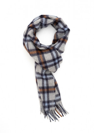 Dark Grey, New Blue & Crocket Modern Tartan Classic Cashmere Scarf