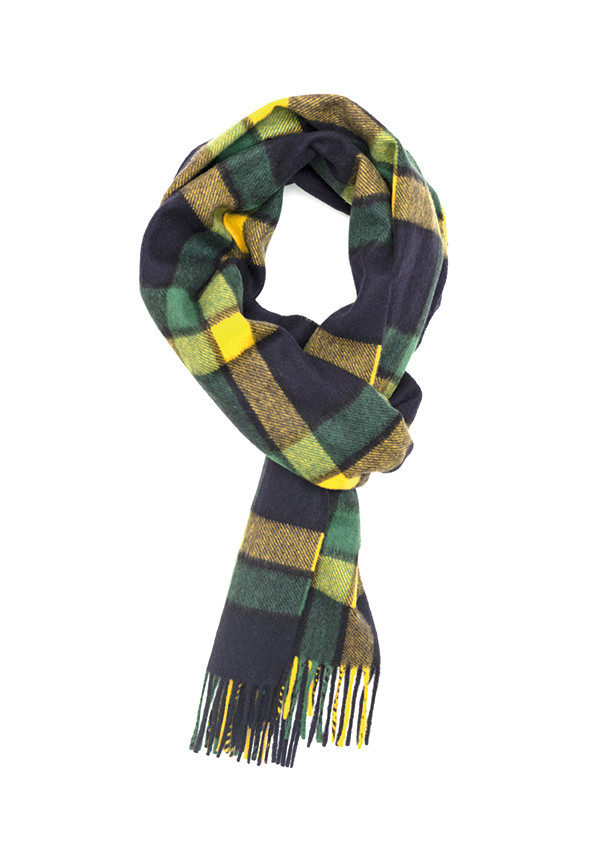 Chatham Navy, Mid Green & Yellow Modern Tartan Classic Cashmere Scarf