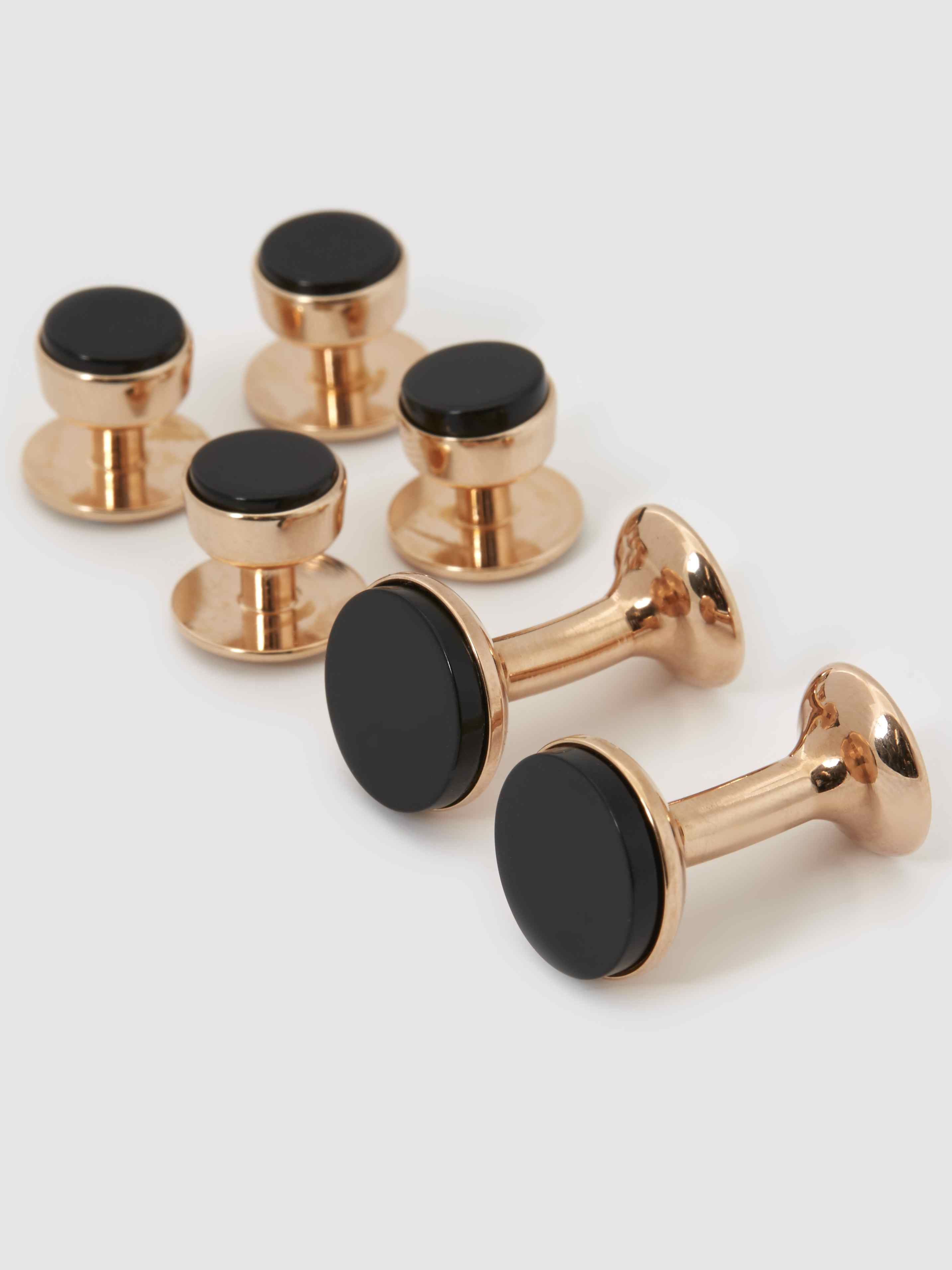 Onyx and Rose Gold Dress Stud and Cufflink Set