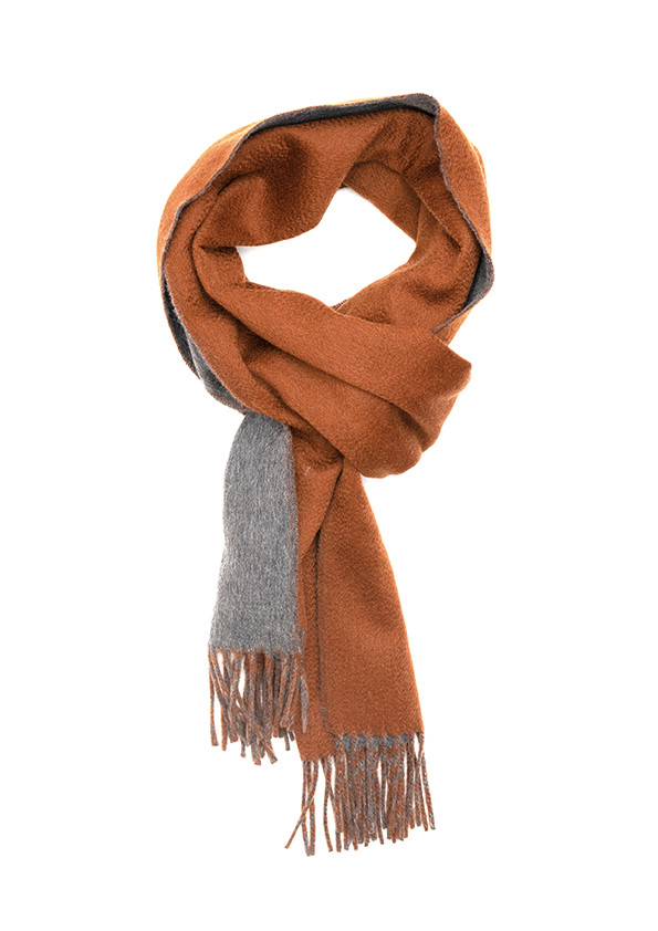 Tan & Grey Solid On Solid Double Face Scarf