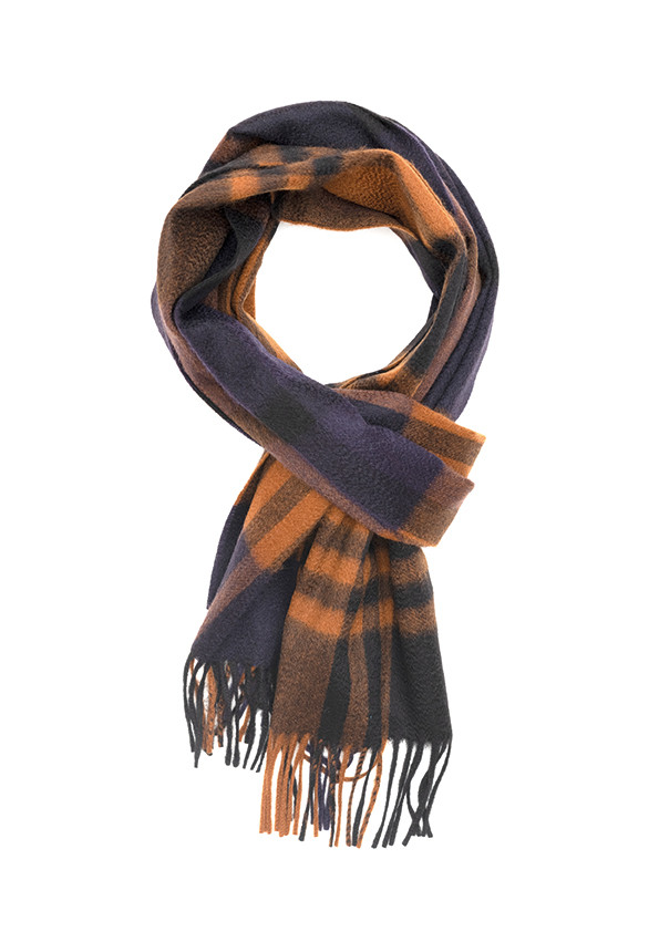 New Blue, Black & Crocket Primary Blackwatch Wide Cashmere Scarf