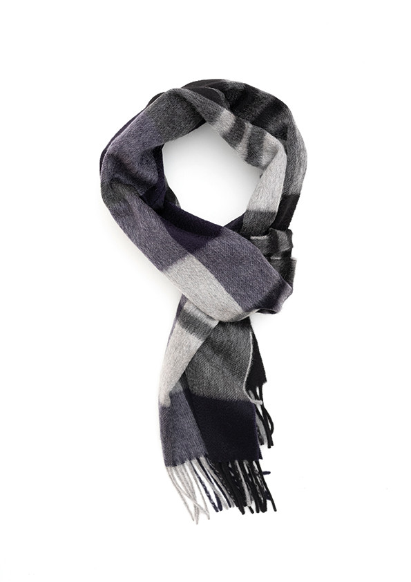 Soft Sapphire & Army Drab Large Windowpane Wide Cashmere Scarf