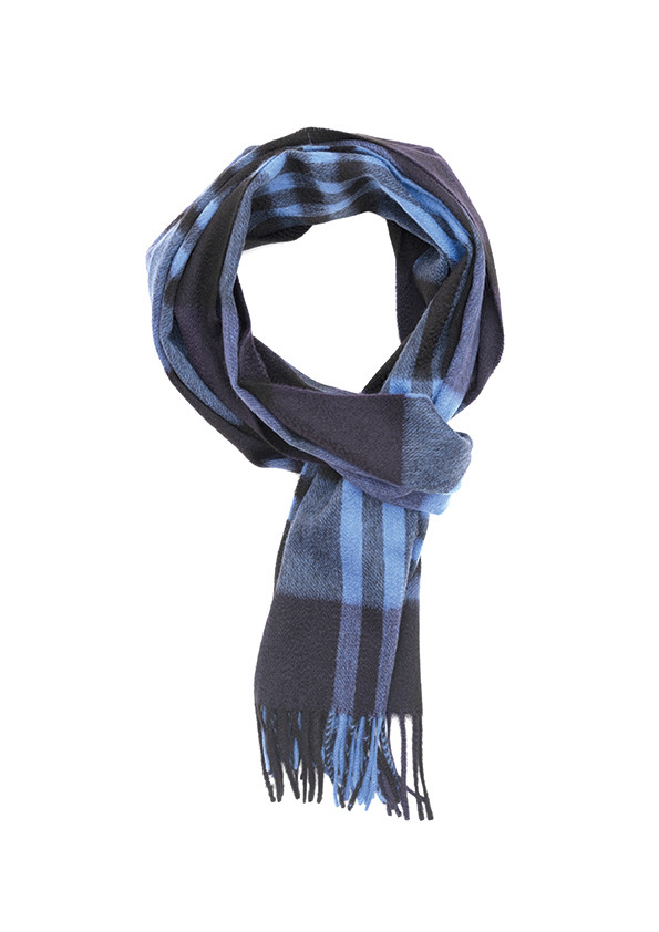 New Blue, Black & Soft Sapphire Primary Blackwatch Wide Cashmere Scarf