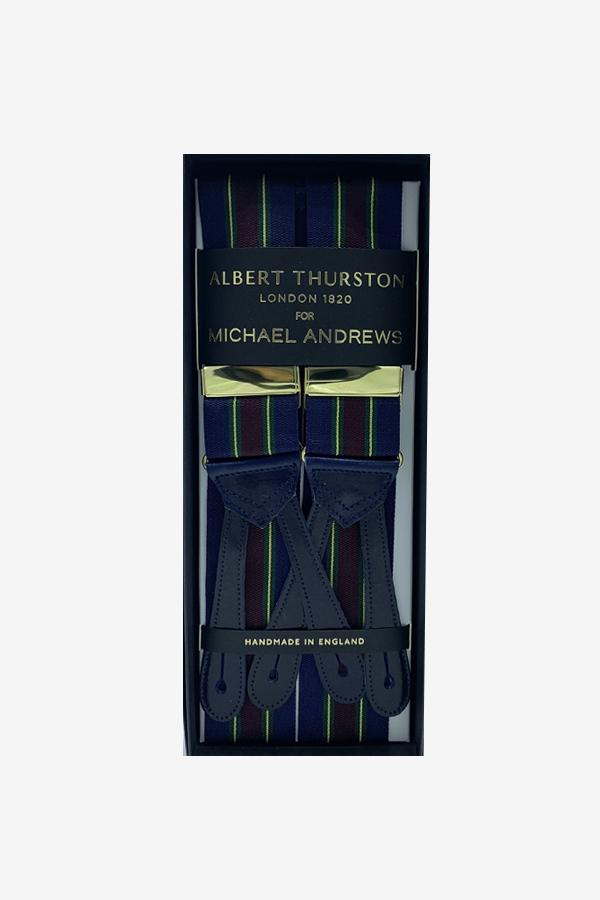 Blue w Green, Wine & Yellow Stripe Suspenders (Short)