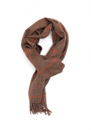 Fudge, Dark Brown & Bengal Tiger Prince Of Wales Classic Cashmere Scarf