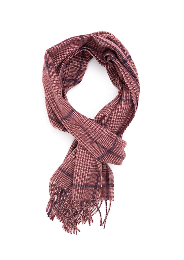 Cream, Crimson & Medieval Blue Prince Of Wales Classic Cashmere Scarf