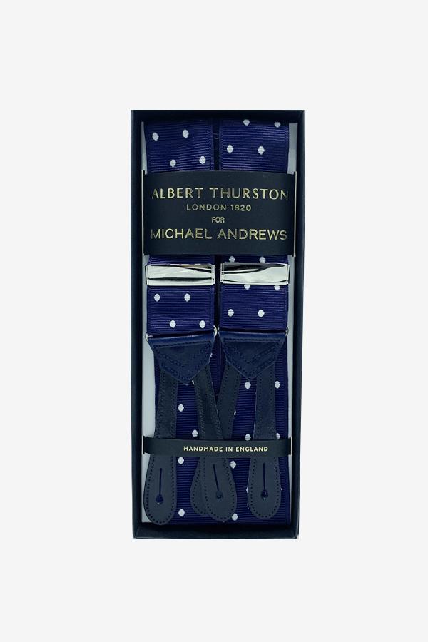 Royal Blue Suspenders w/ White Dots