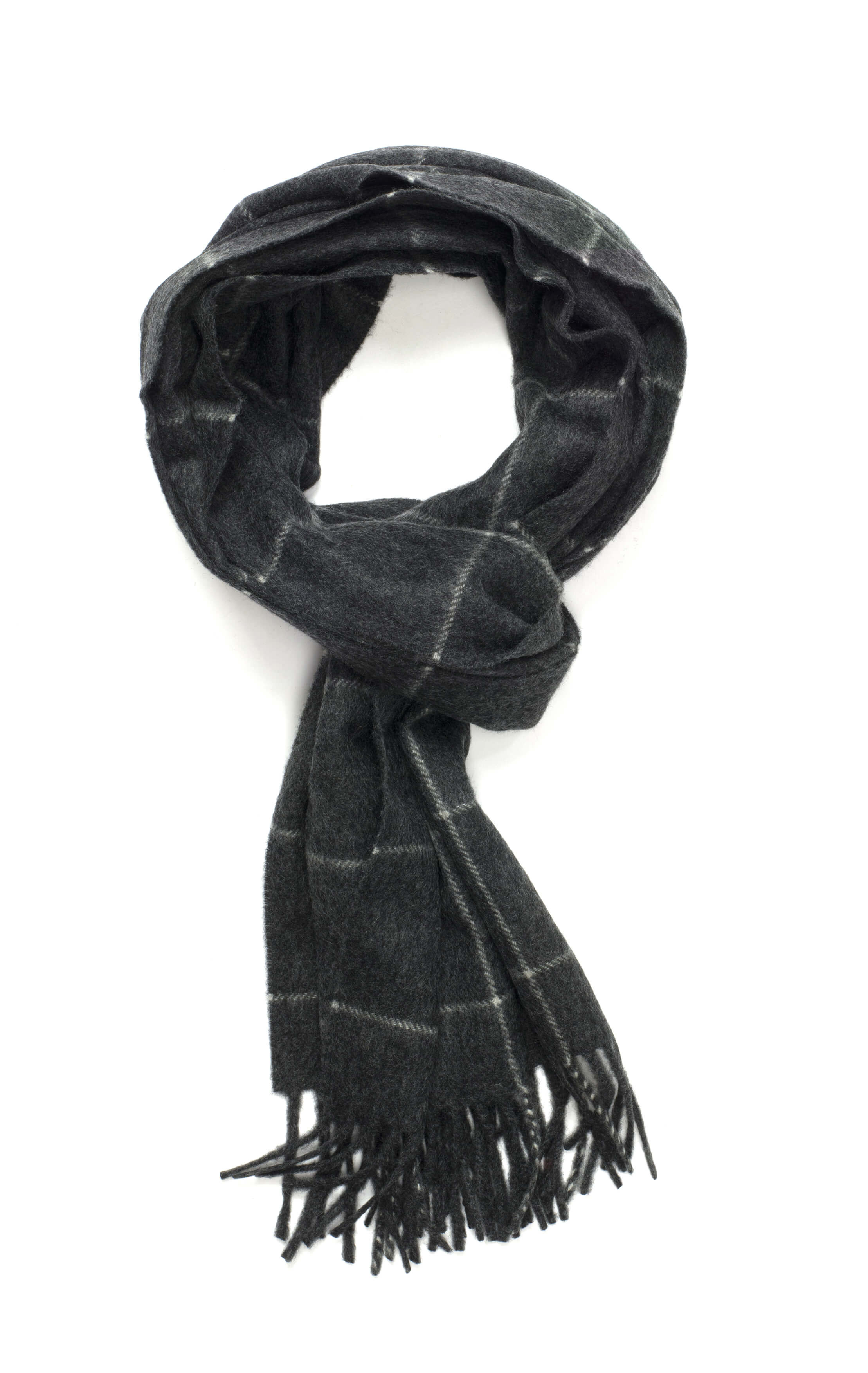 Mid Steel & White Windowpane Classic Cashmere Scarf