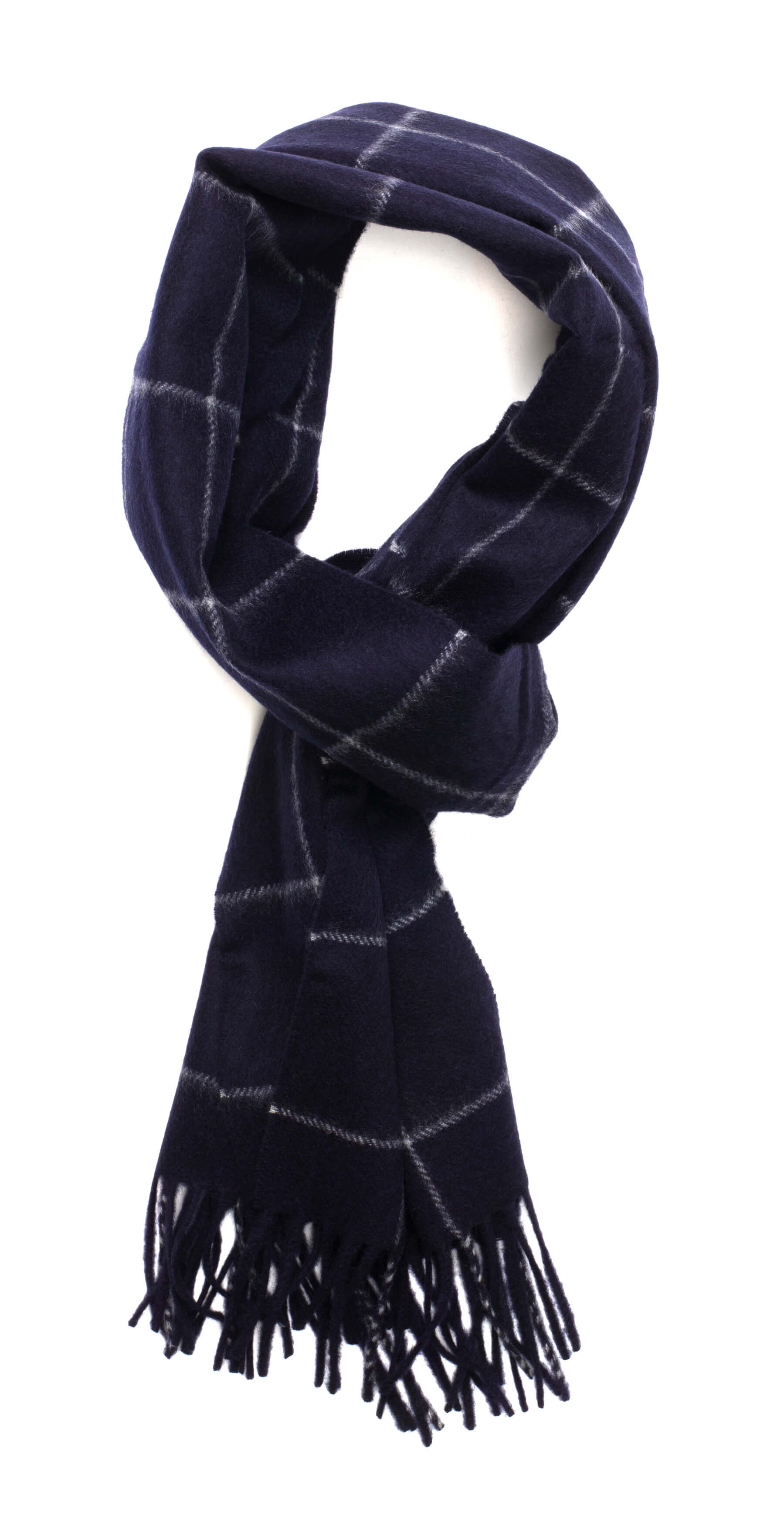 New Blue & Light Grey Windowpane Classic Cashmere Scarf