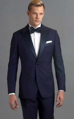 Navy One-Button MTM Tuxedo with Navy Satin Trim