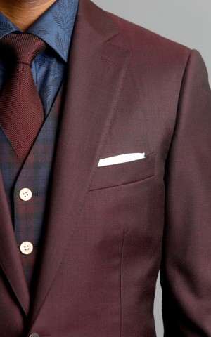 Maroon Sharkskin Two-Button Wool MTM Sport Coat
