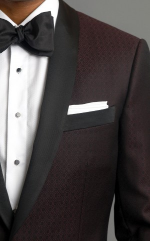Burgundy Textured Wool MTM Dinner Jacket with Grosgrain Trim