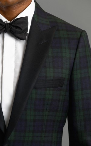 Black Watch Tartan One Button Wool Mtm Dinner Jacket