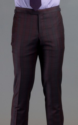 Maroon Plaid Two-Button Wool MTM Suit