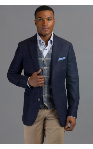 Navy Linen Blend Hopsack Two-Button MTM Sport Coat