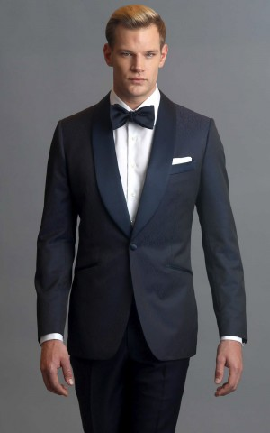Navy Blue Geo Pattern One-Button MTM Dinner Jacket