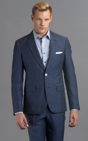 Medium Blue Two-Button Wool-Linen Blend MTM Suit