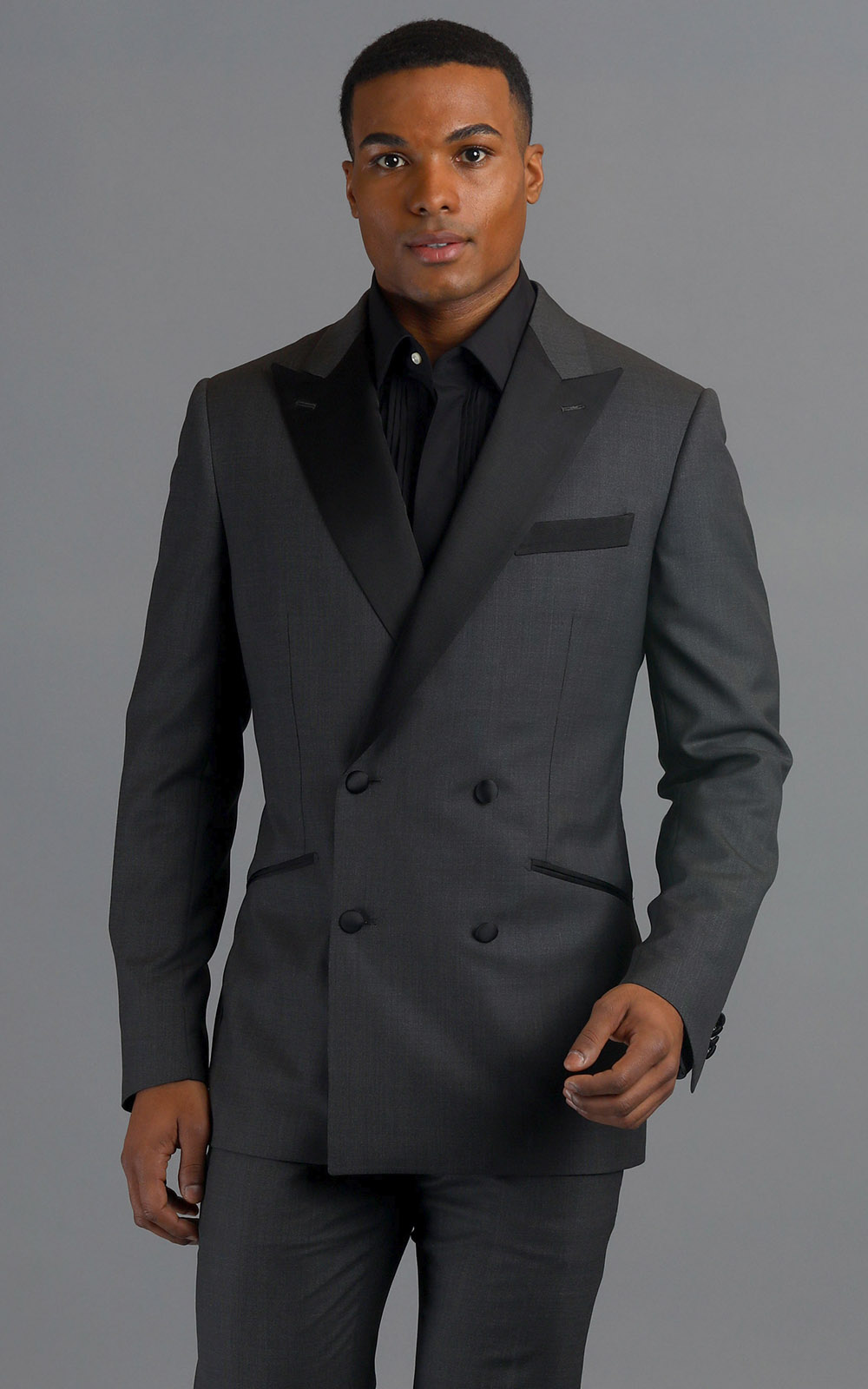 Grey Double-Breasted Wool MTM Tuxedo with Contrast Black Satin Trim