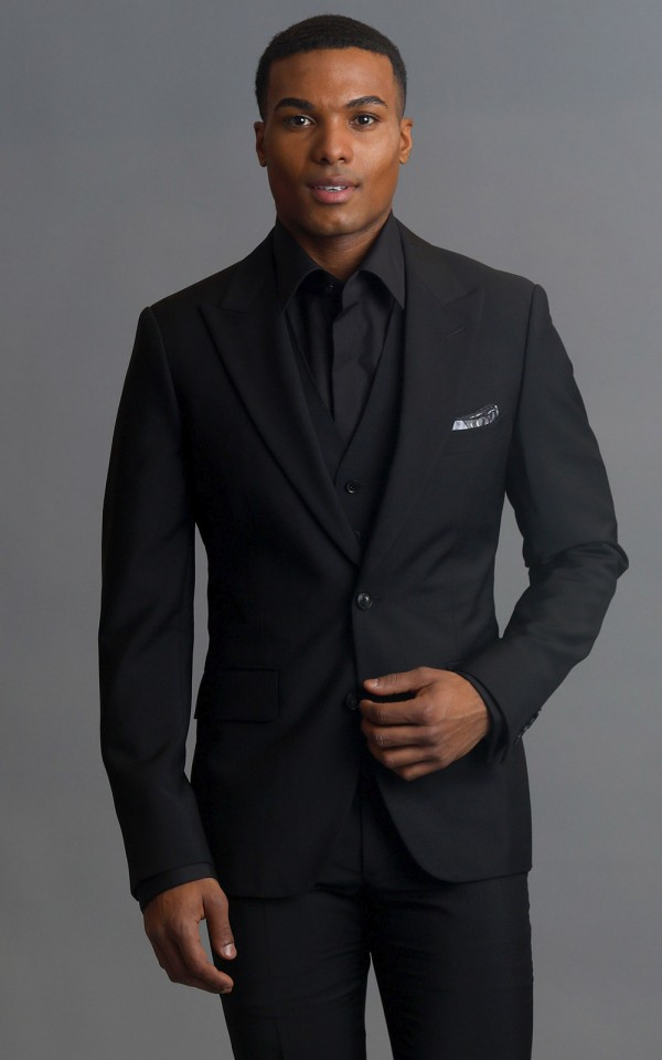 Black Wool/Mohair Two-Button MTM Suit
