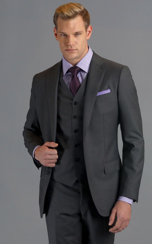 Medium Grey Sharkskin Two-Button Wool MTM Suit