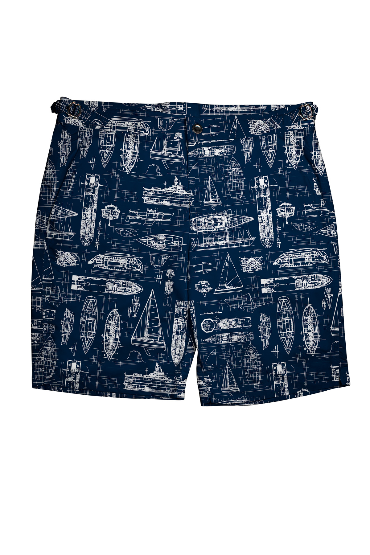 Navy Swim Shorts with White Boats