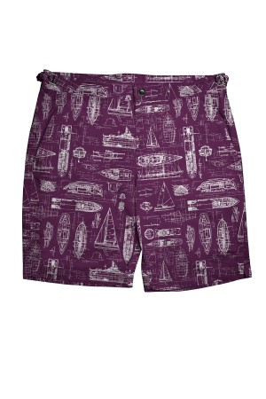 Purple Swim Shorts with White Boats
