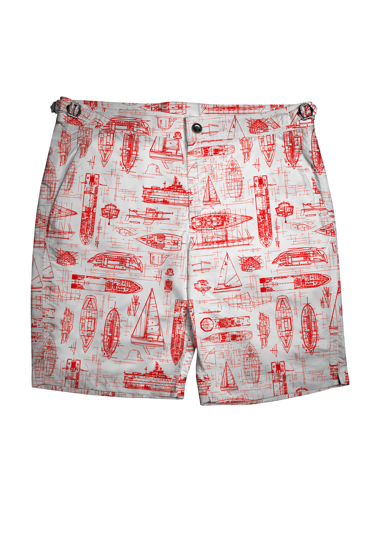 White Swim Shorts with Red Boats