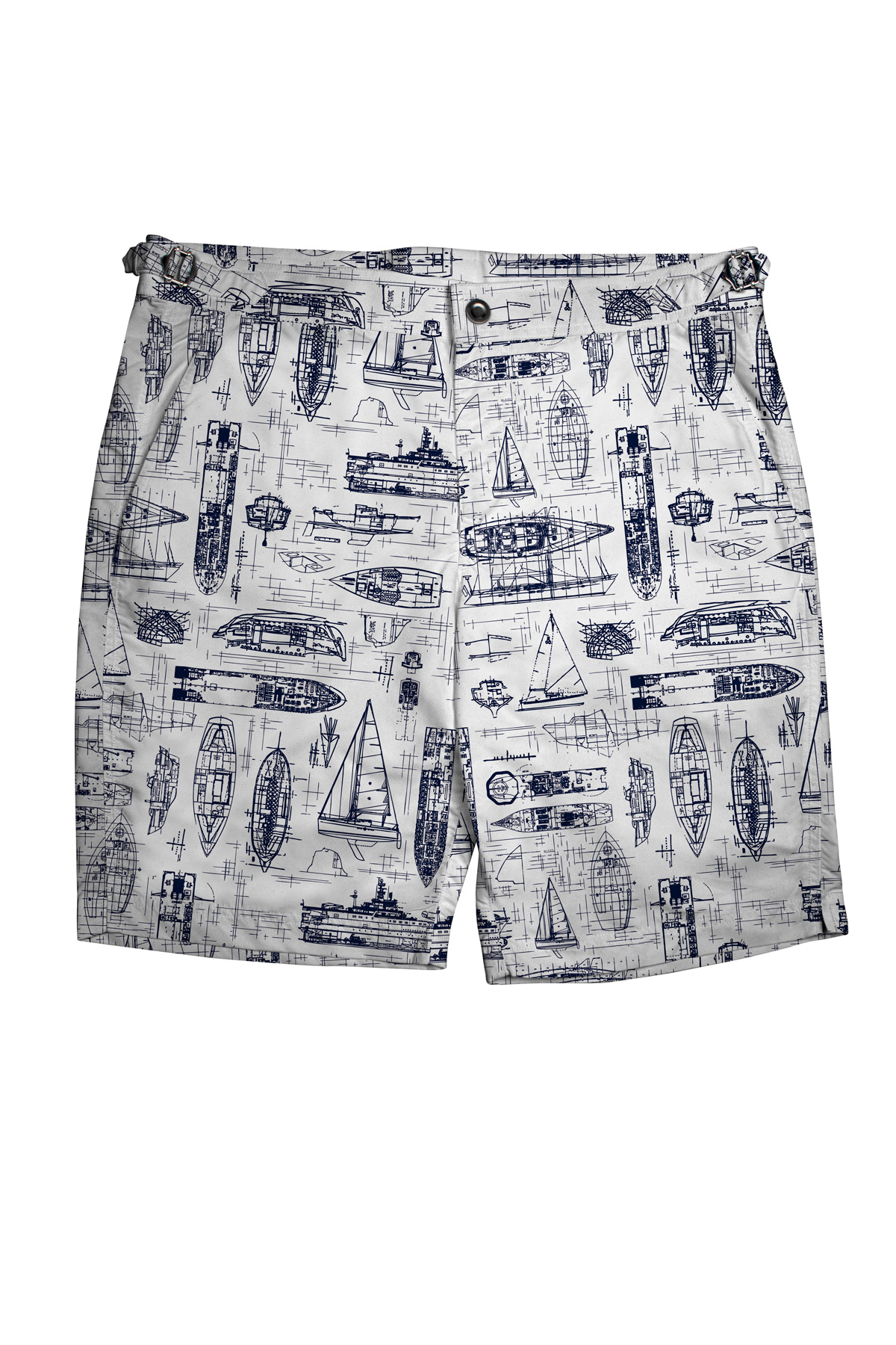 White Swim Shorts with Navy Boats
