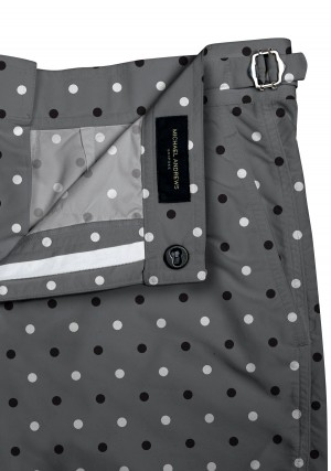 Black/White Polka Dots on Grey Swim Shorts