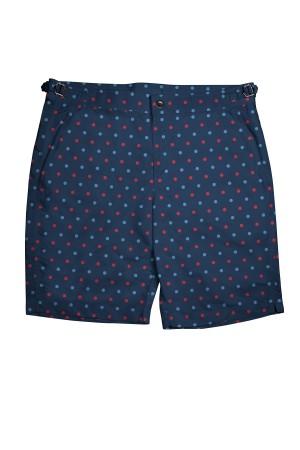 Blue/Red Polka Dots on Navy Swim Shorts