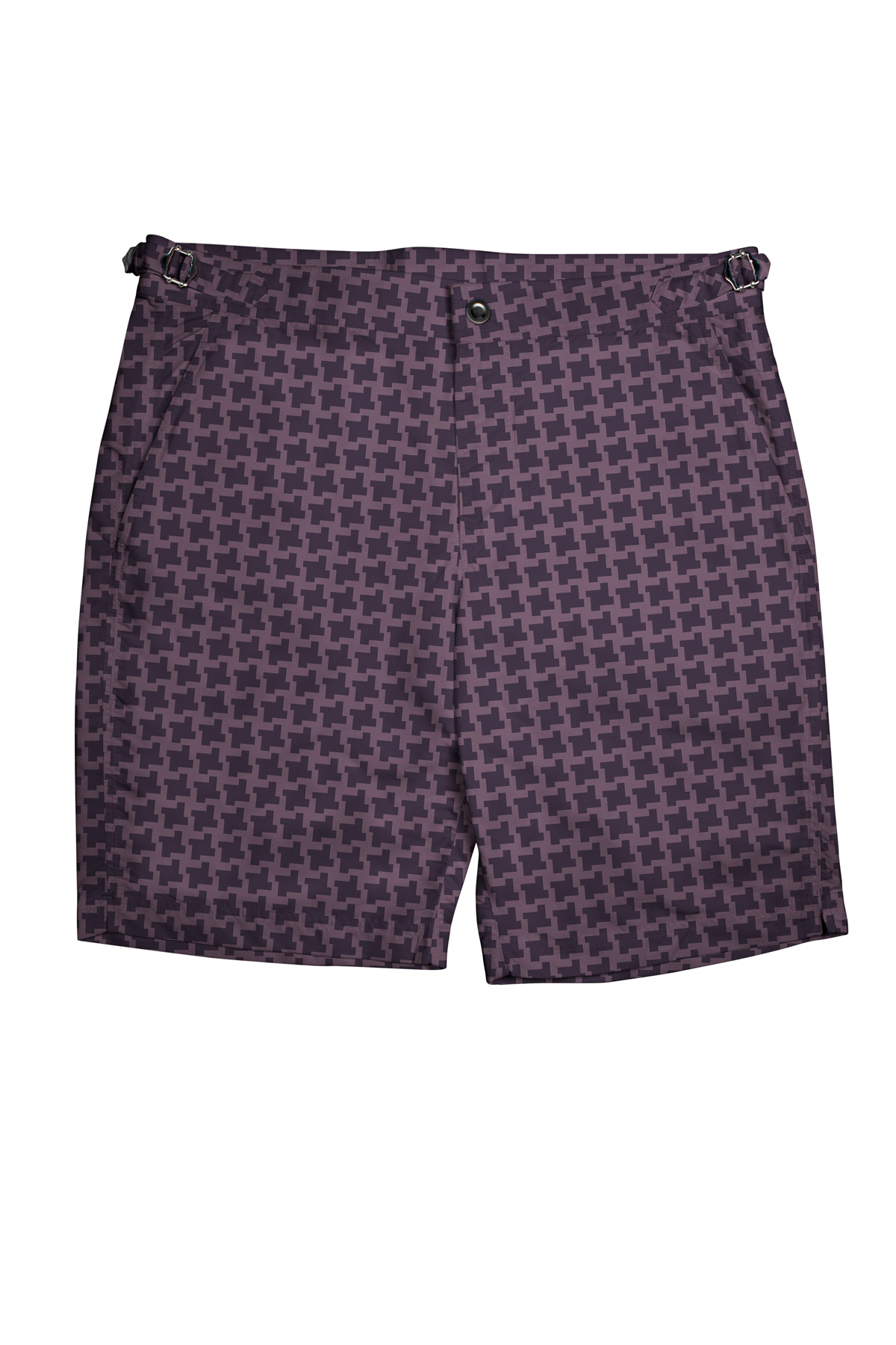 Purple Houndstooth Swim Shorts