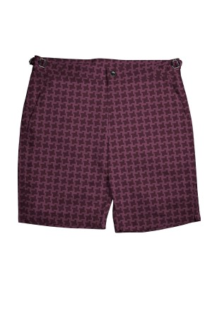 Burgundy Houndstooth Swim Shorts