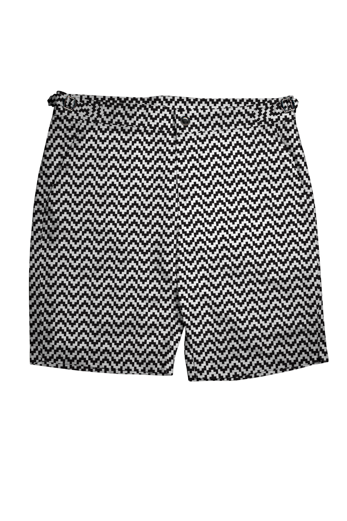 Black & White Zig-Zag Swim Shorts