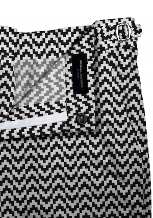 Black & White Zig-Zag Swim Shorts