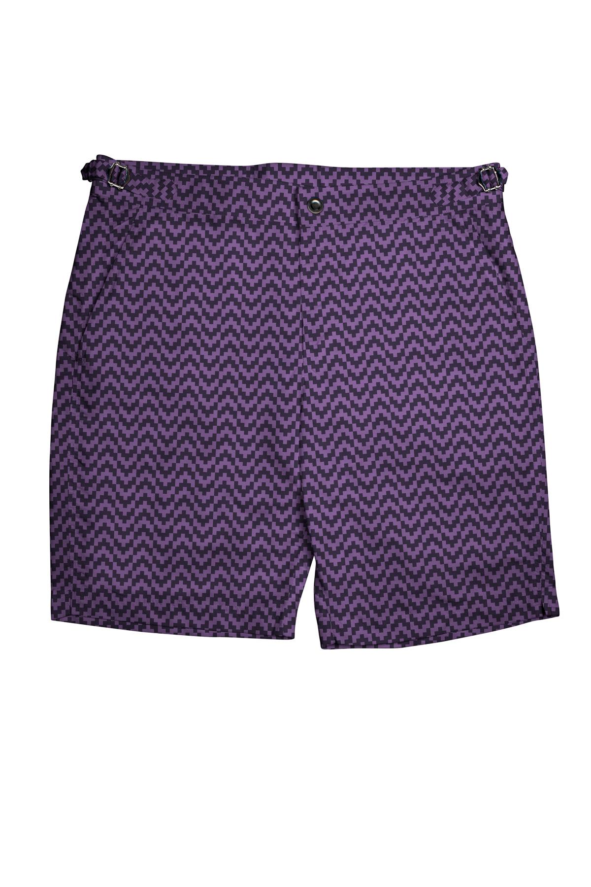 Purple Zig-Zag Swim Shorts