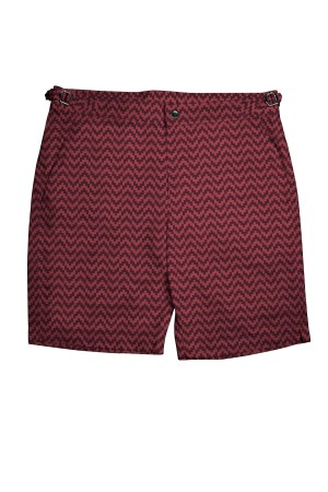 Burgundy Zig-Zag Swim Shorts