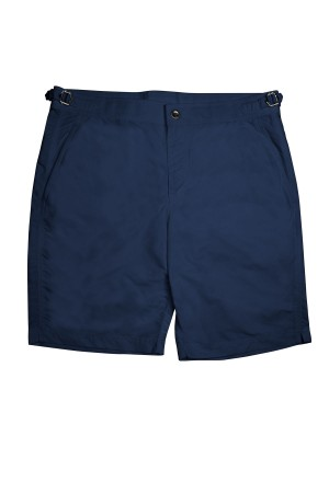 "Navy Solid ""Brunch to Beach"" Swim Shorts"