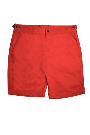 Red Solid Swim Shorts