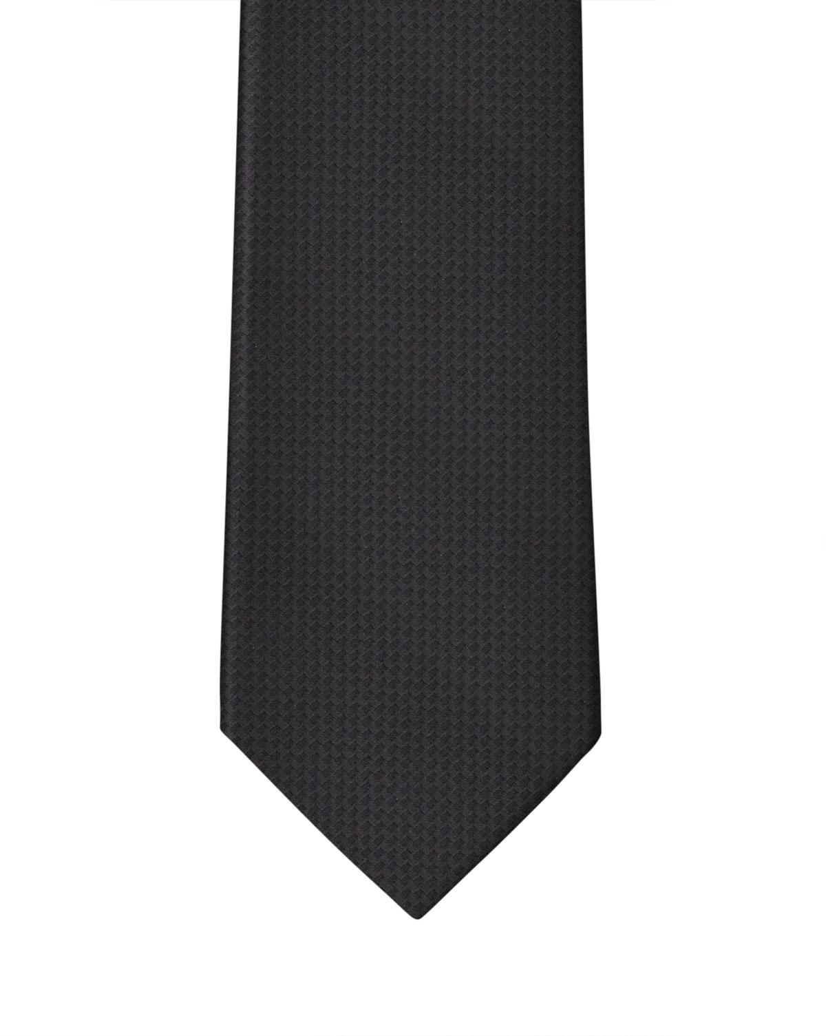 Black Solid Textured Waffle Weave Necktie