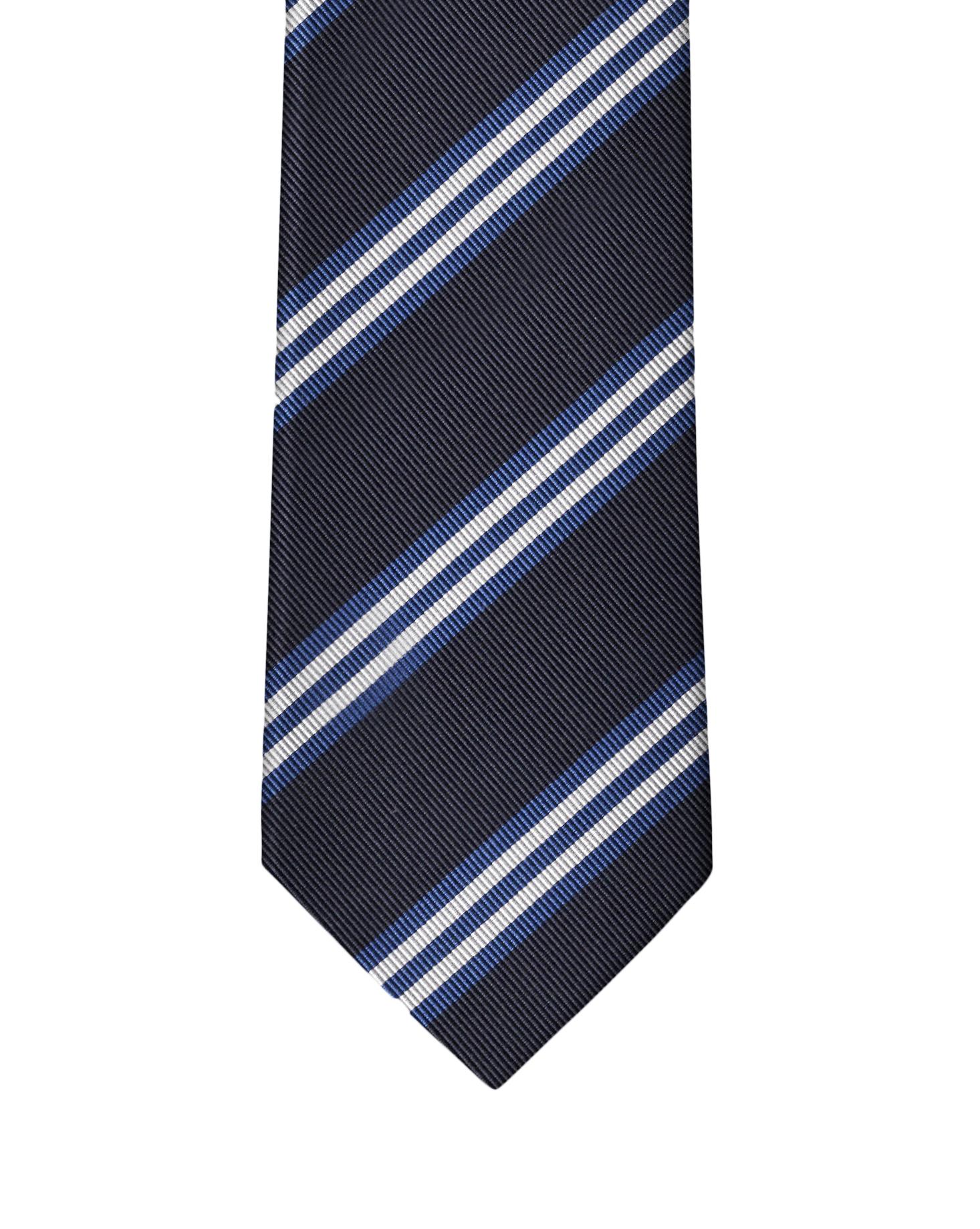 Black, Blue, & White Classic Rep Stripe Necktie