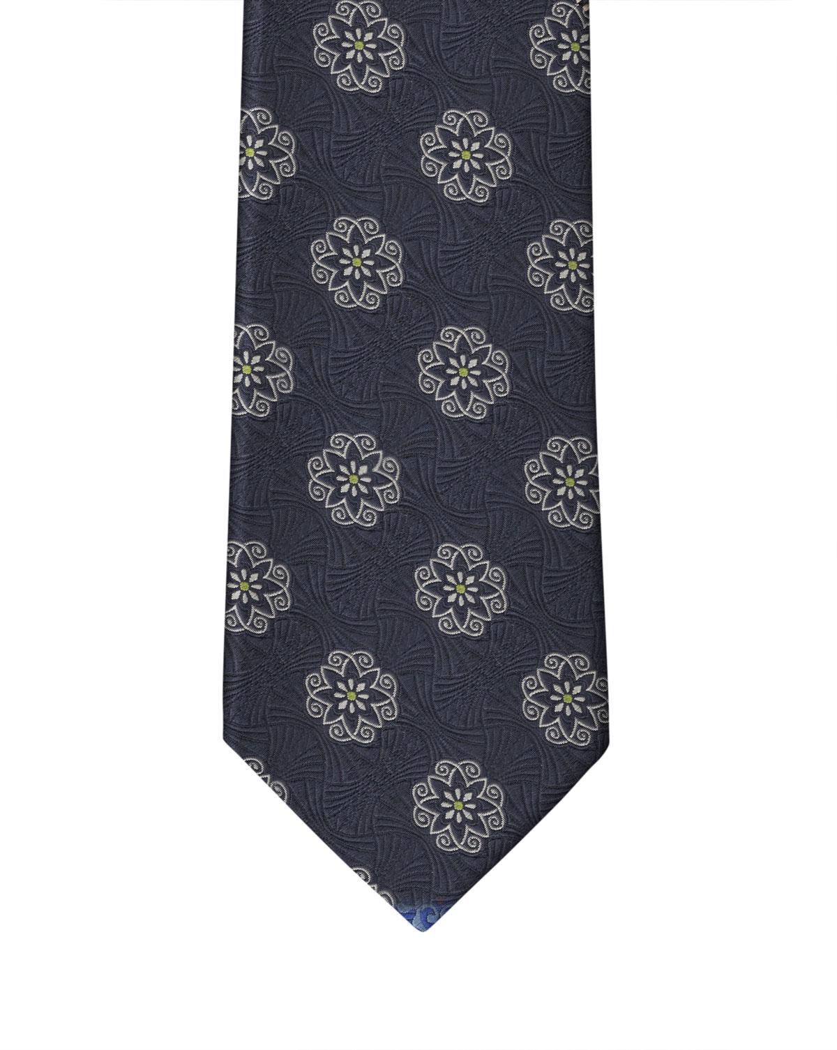 Navy Heraldic Medallion Necktie