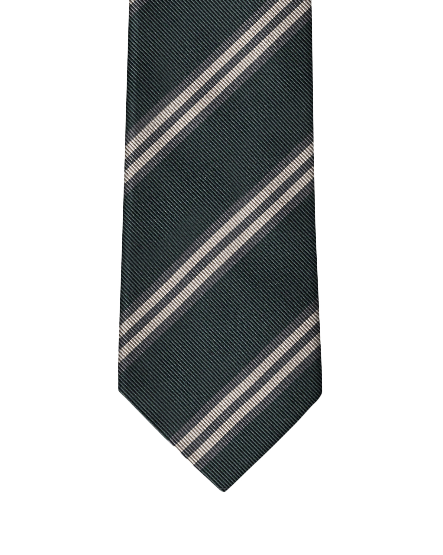 Charcoal, Grey, & Cream Classic Rep Stripe Necktie