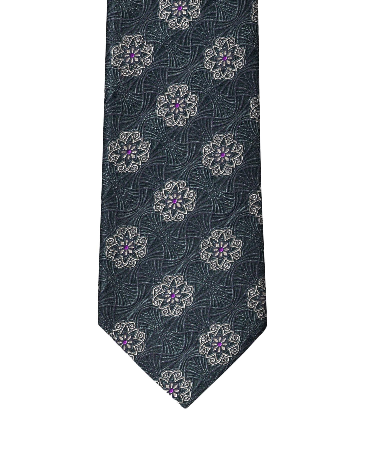 Hunter Green Heraldic Medallion Necktie