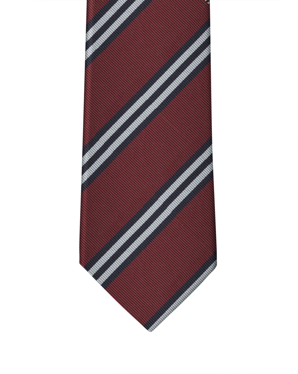 Wine, Navy, & White Classic Rep Stripe Necktie