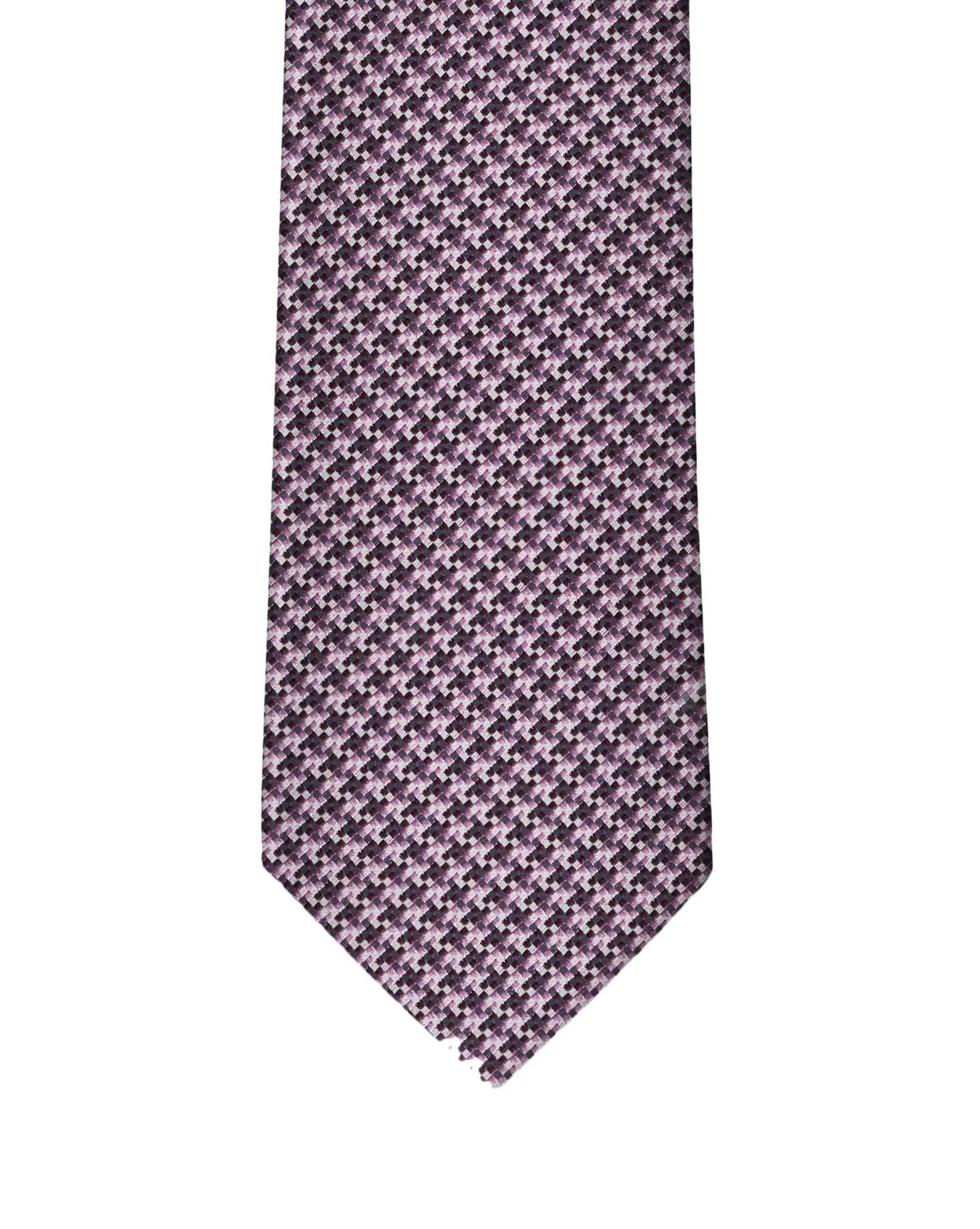 Dk Purple & Mauve Micro Houndstooth Necktie