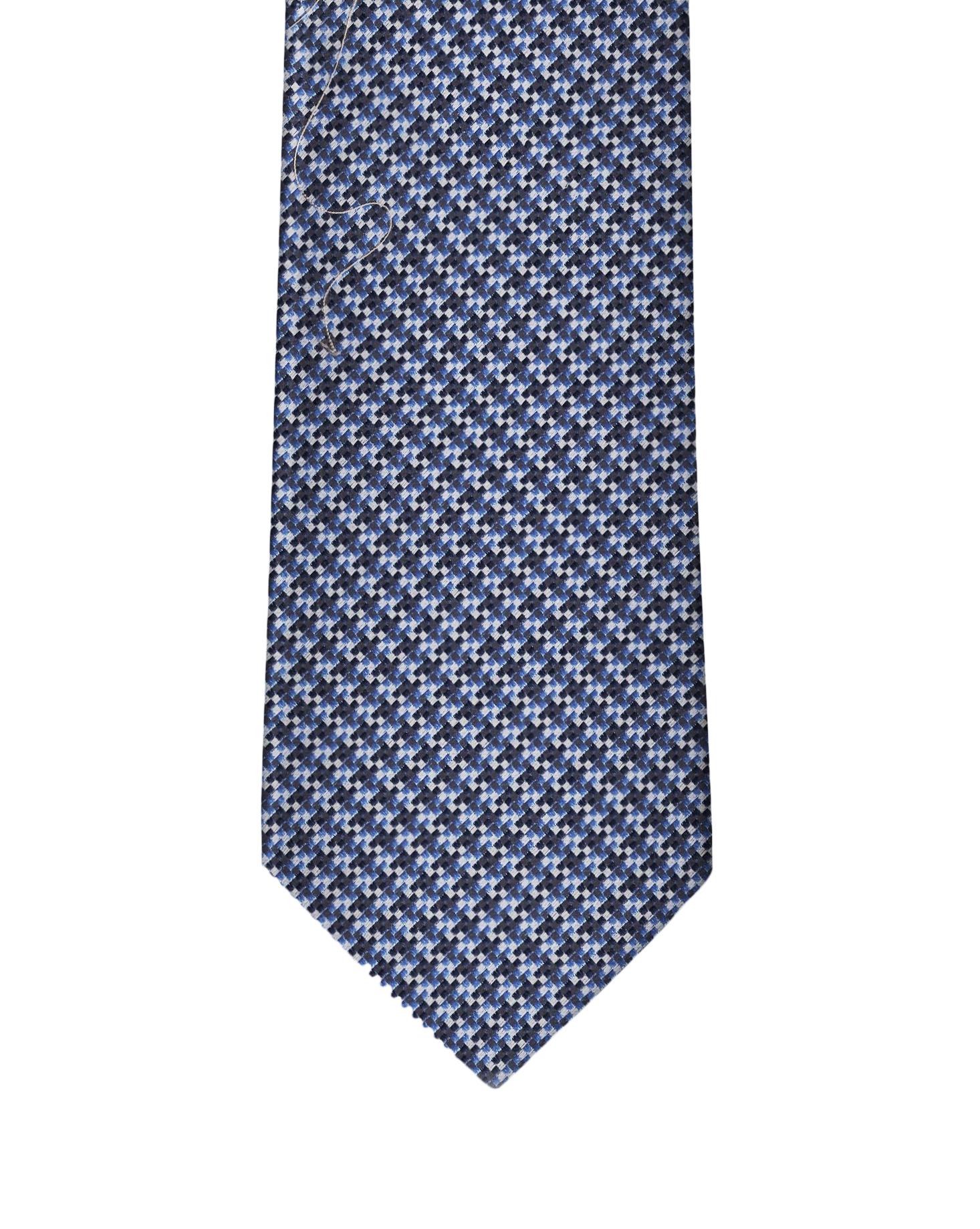 Navy & Sky Blue Micro houndstooth Necktie