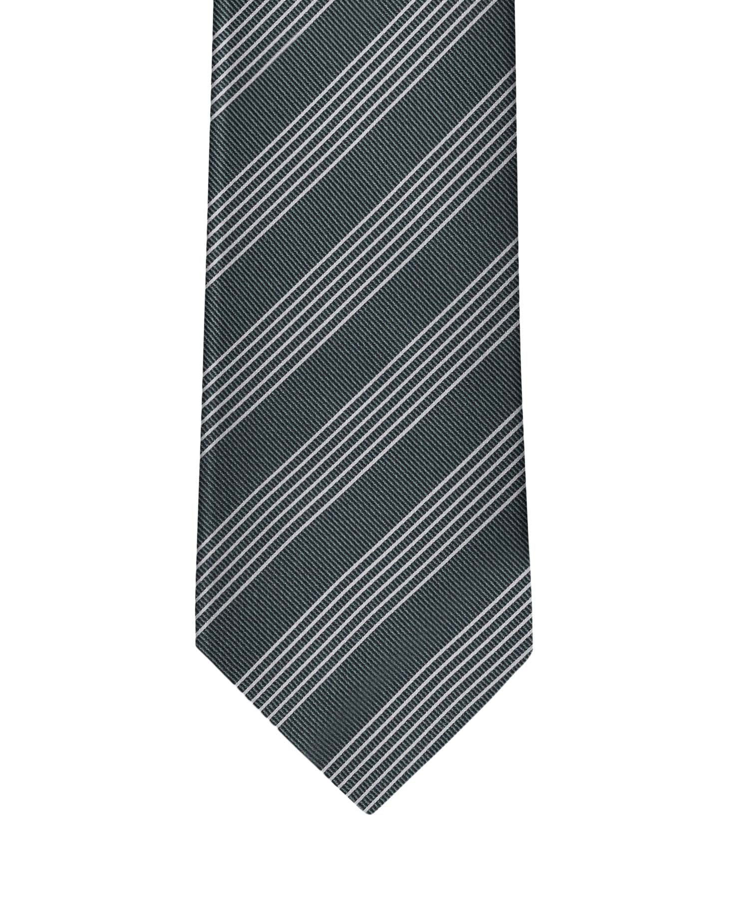 Hunter Green Classic Stripe Necktie