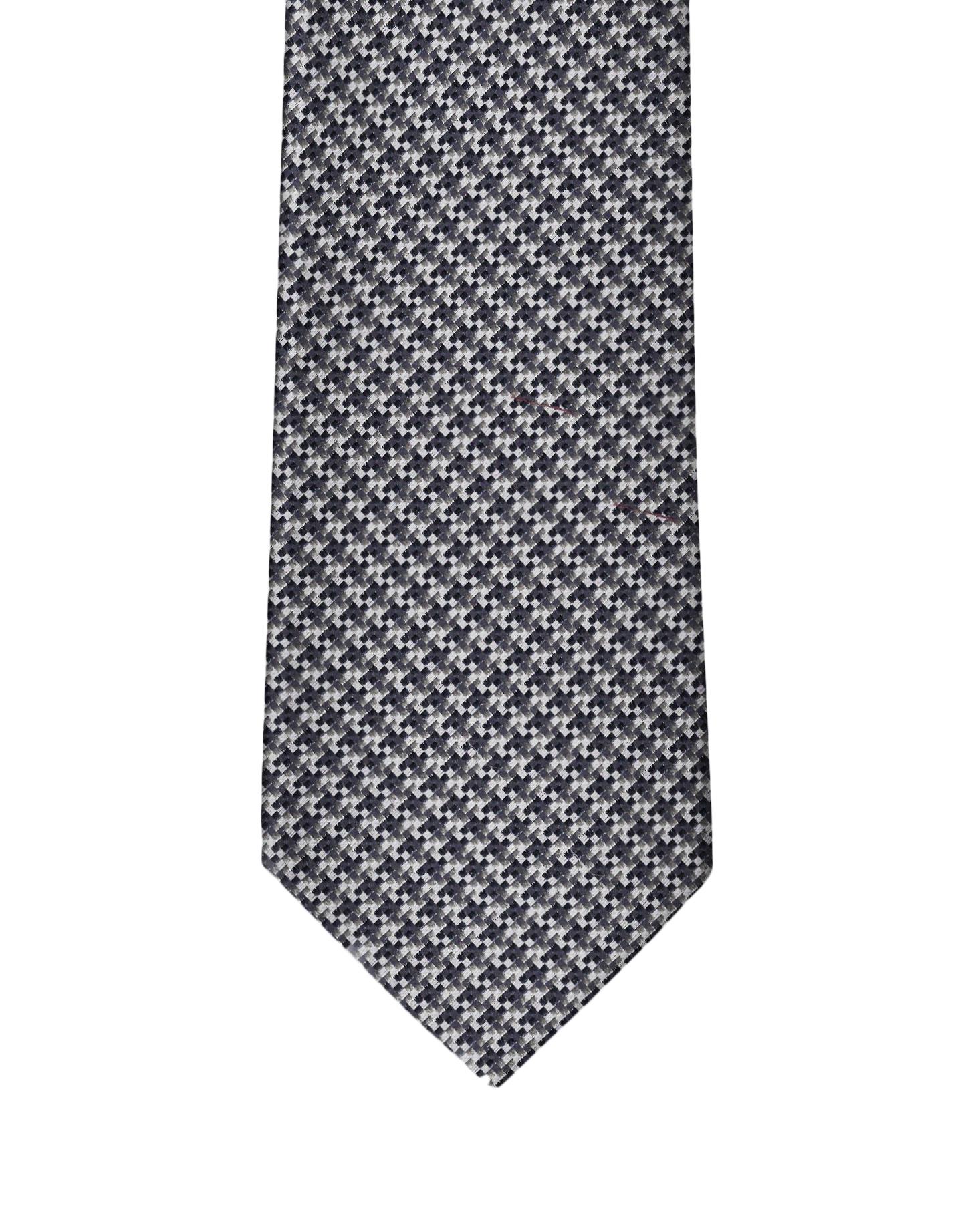 Navy & White Micro Houndstooth Necktie