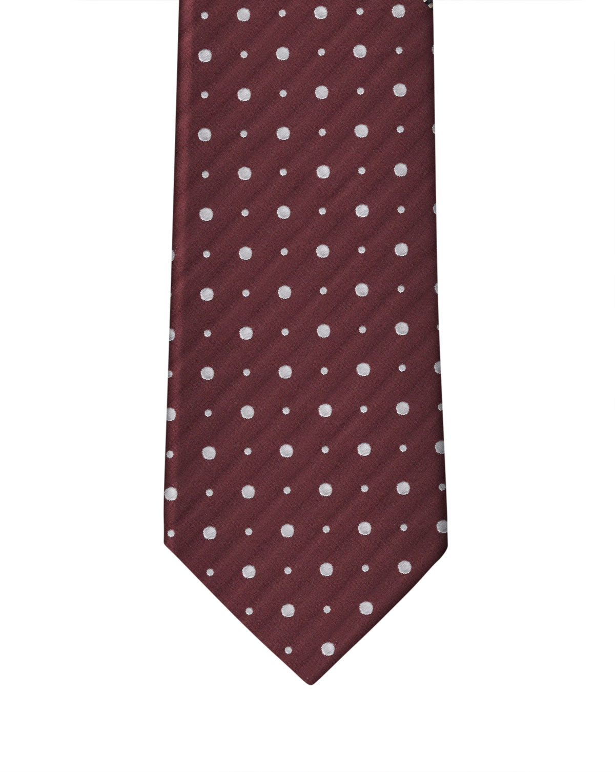 Burgundy & White Double Dot Necktie