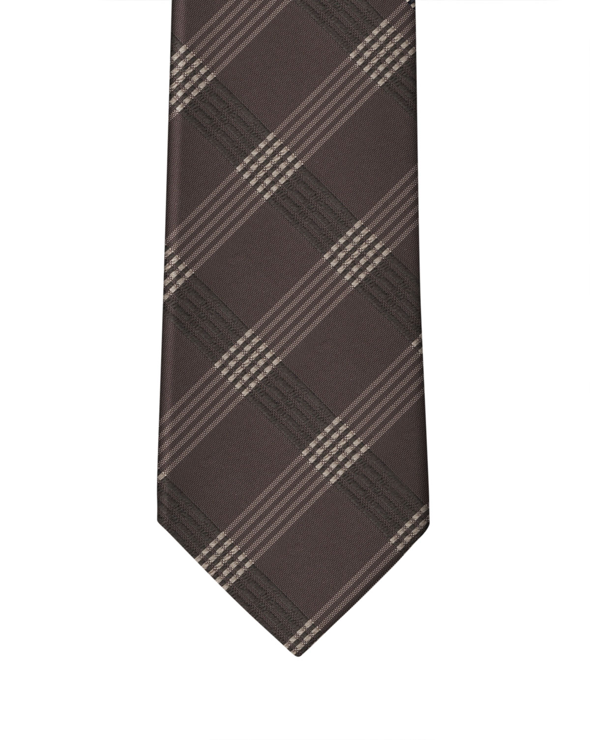 Brown Graphic Check Necktie